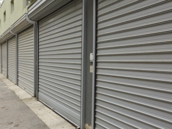 10 roller shutters fitted to neighbouring units in a row
